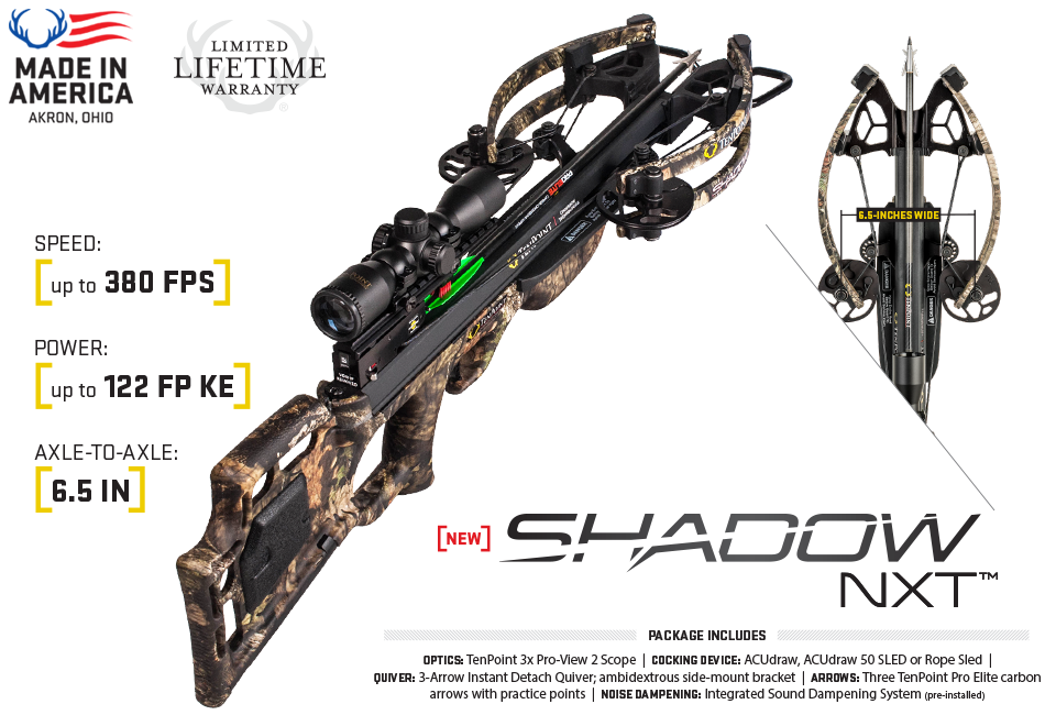 Ten Point Shadow NXT Pkg 380 fps Rope Sled crossbow