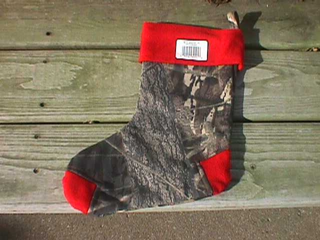 X-Mas Stocking, Break-Up Camo w/Red Trim