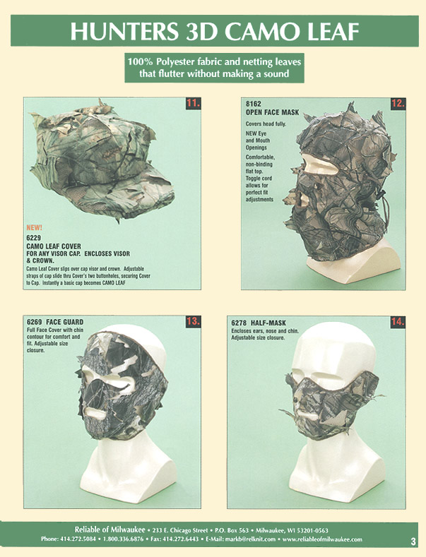 3-D Camo Leaf Full Mask Face Guard