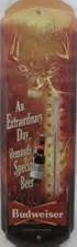 Rivers Edge Budweiser Tin Thermometer